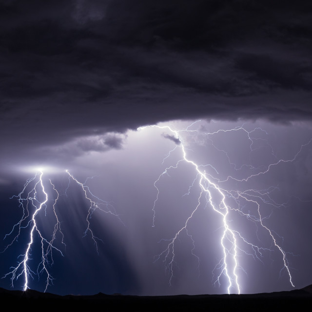 """Thunderstorm with lightning bolts"" stock image"