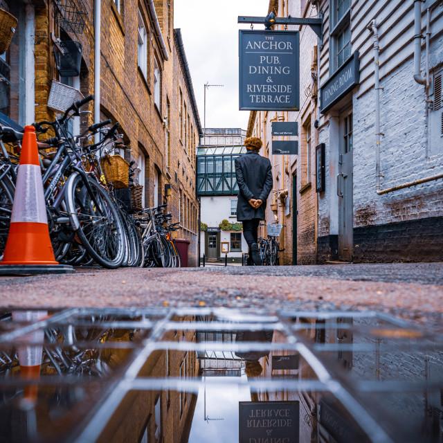 """""""Reflections, Laundress Lane, Cambridge UK."""" stock image"""