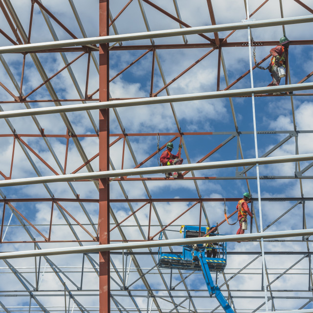 """""""Steel framework of a warehouse under construction. Cape Town, South Africa."""" stock image"""