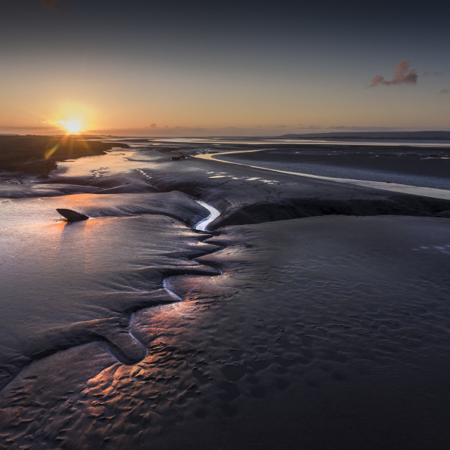 """""""Sunset over the Loughor estuary"""" stock image"""