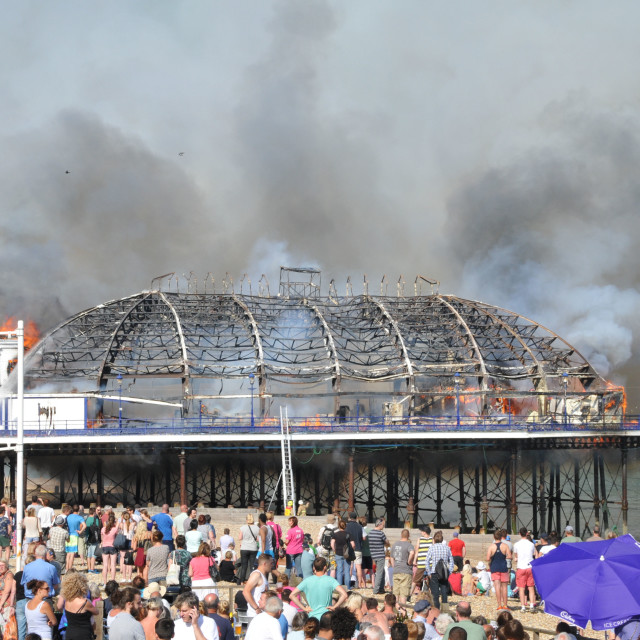 """""""Fire at Eastbourne Pier"""" stock image"""