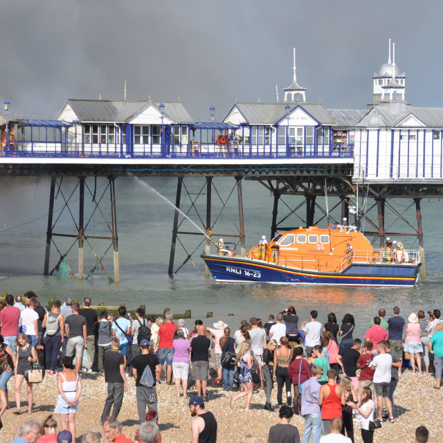"""""""Fire on Eastbourne Pier"""" stock image"""