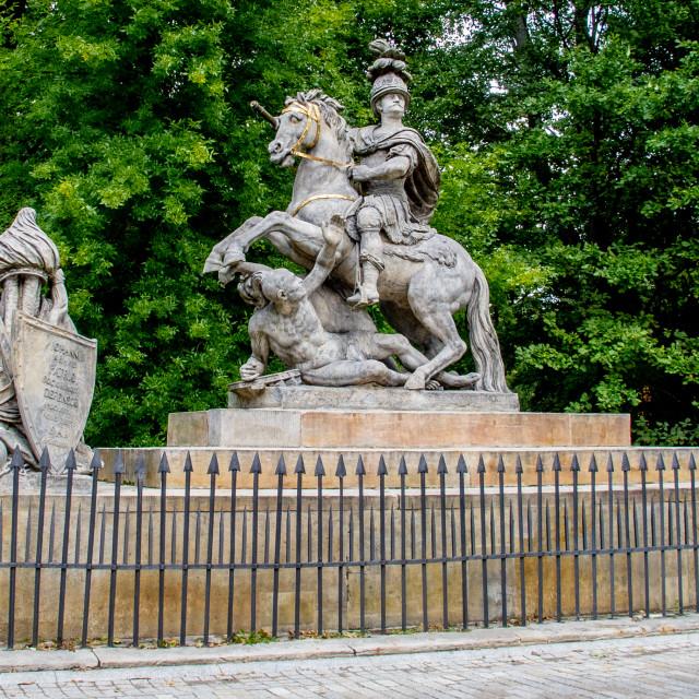 """Monument to King Jan III Sobieski at the Royal Baths (Łazienki Park), Warsaw"" stock image"