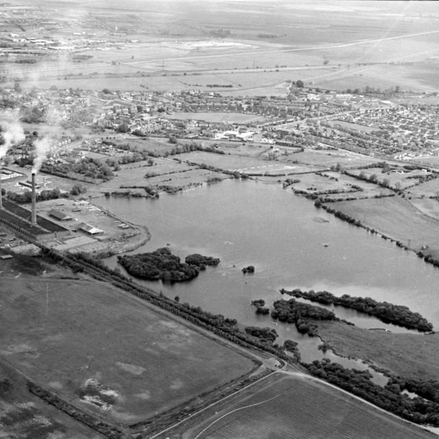 """Fletton Lake and Stanground (1978)"" stock image"
