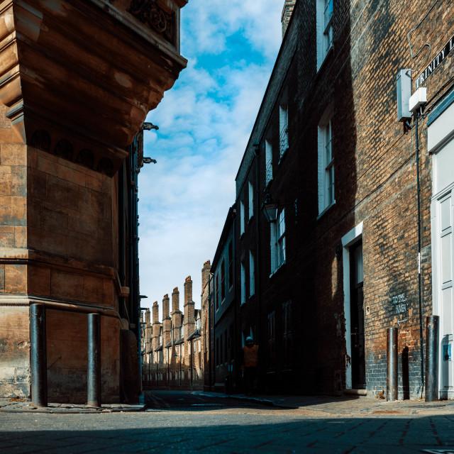 """""""Trinity Lane at ground level, Cambridge UK."""" stock image"""