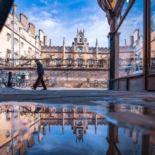 """Reflections, Green Street, Cambridge UK."" stock image"
