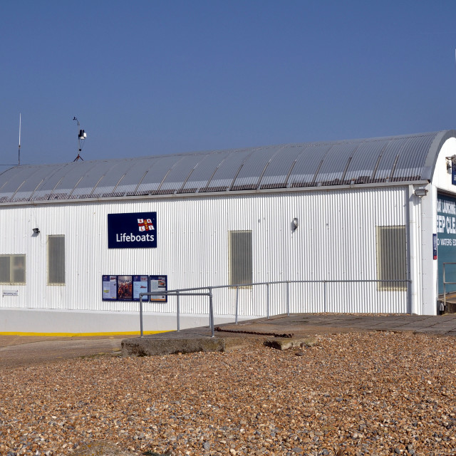 """""""RNLI Eastbourne inshore lifeboat station"""" stock image"""