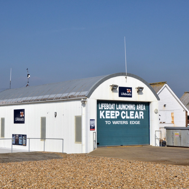 """""""RNLI Eastbourne inshore lifeboat boat house"""" stock image"""