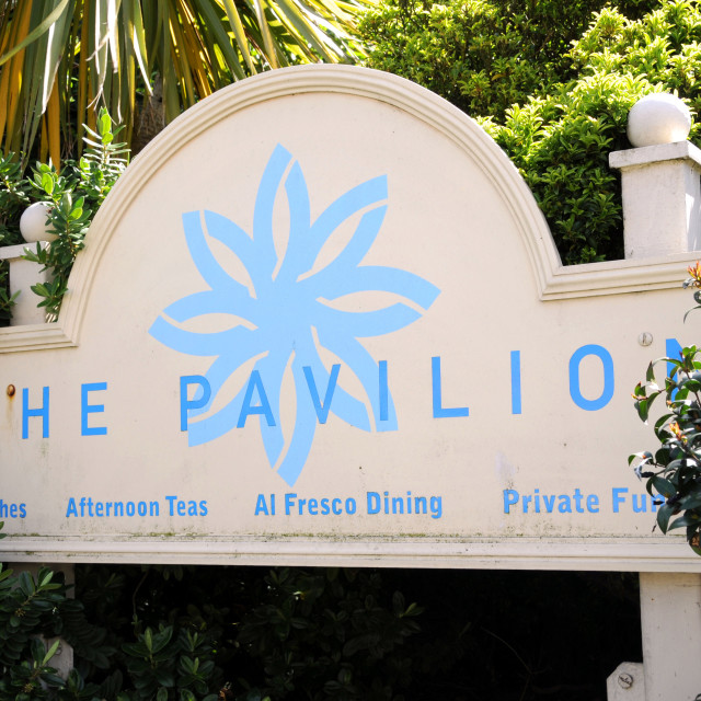 """""""The Pavilion tea Rooms sign Eastbourne"""" stock image"""