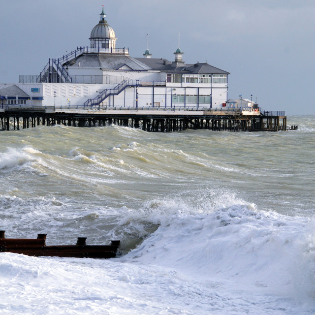 """""""Eastbourne Pier and rough sea"""" stock image"""