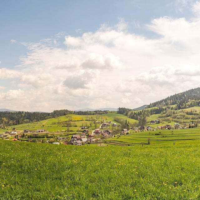 """Panoramic view on Gorce in Rabka Zdroj (Poland)"" stock image"