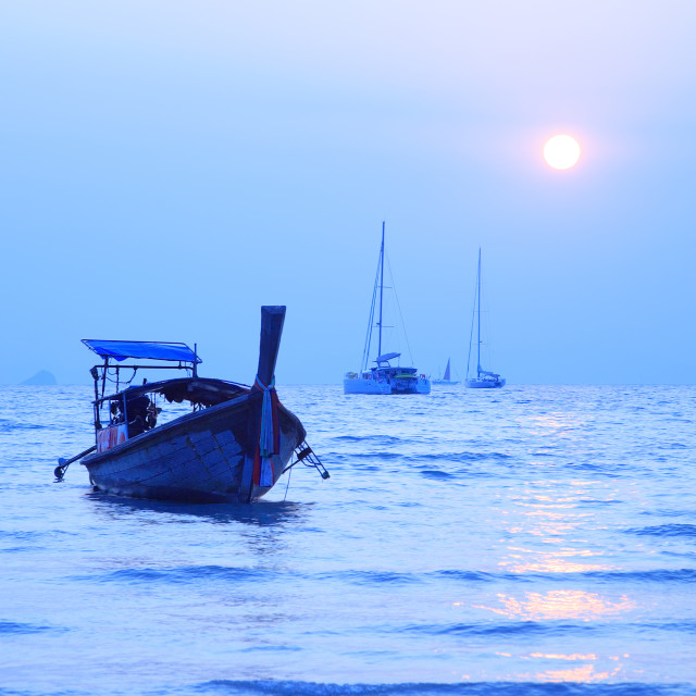 """""""Longtail boat in the Andaman sea, Railay West coastline, Pranang"""" stock image"""