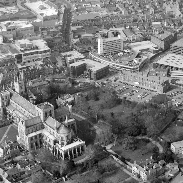 """""""Cathedral and City Centre (1983)"""" stock image"""