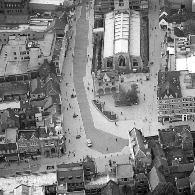 """""""Cathedral Square and Church Street (1983)"""" stock image"""