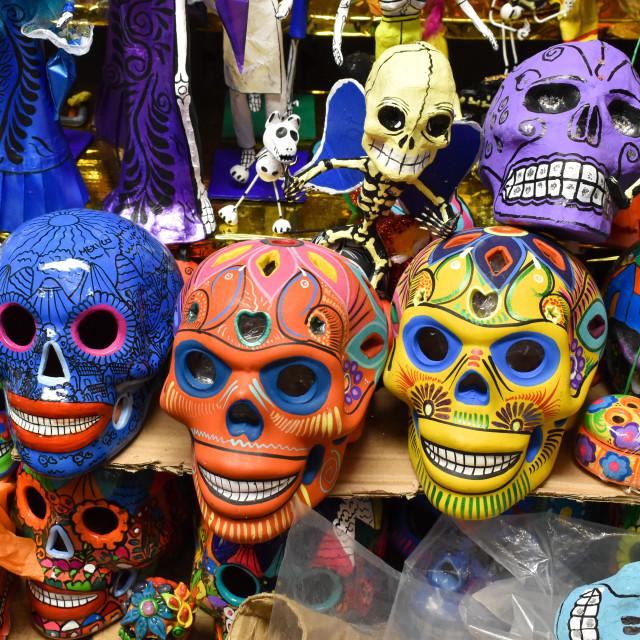 """""""Sugar Skulls at Mexican market"""" stock image"""