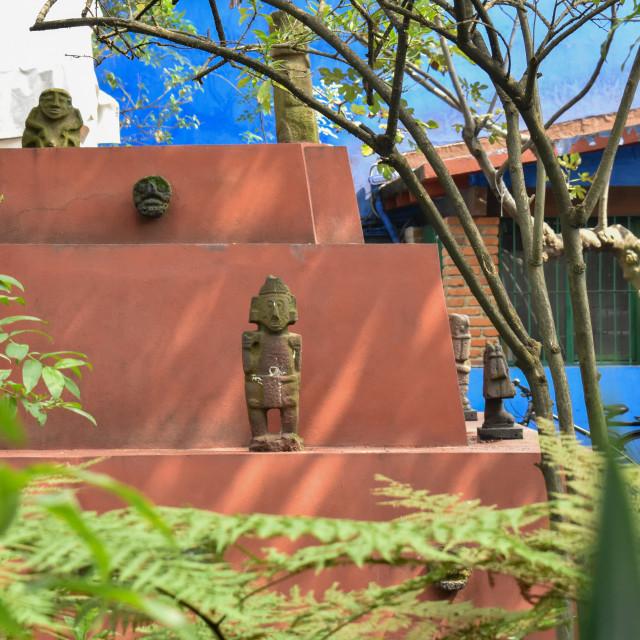 """""""Mayan sculptures at Frida Kahlo museum"""" stock image"""