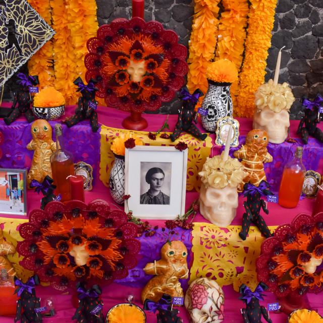 """""""Ofrenda at Frida Kahlo's house"""" stock image"""
