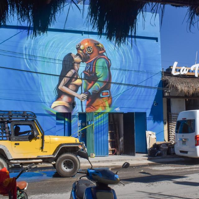 """""""Street art Tulum Town"""" stock image"""