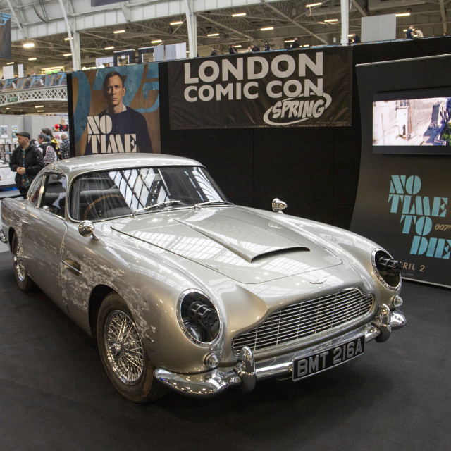 """James Bond DB5 No Time To Die London Comic Con Spring 2020"" stock image"