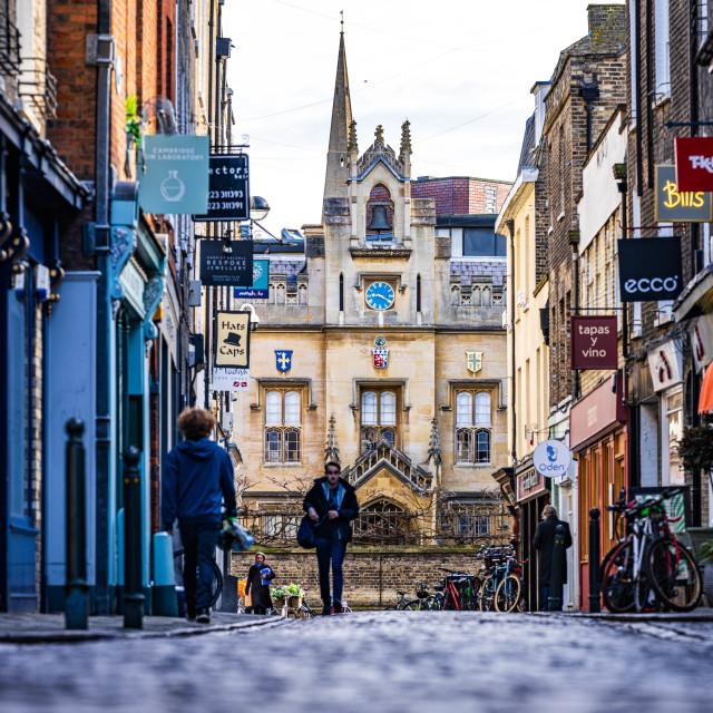 """Ground level, Green Street, Cambridge UK."" stock image"