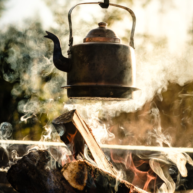 """Coffee by the campfire"" stock image"