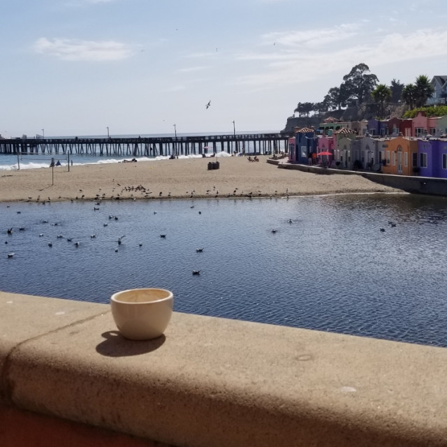 """""""Coffee in Capitola"""" stock image"""