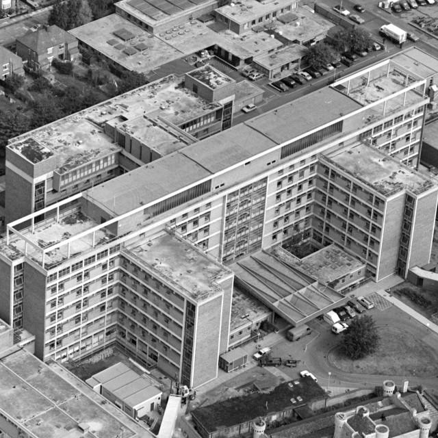 """Peterborough District Hospital (1984)"" stock image"