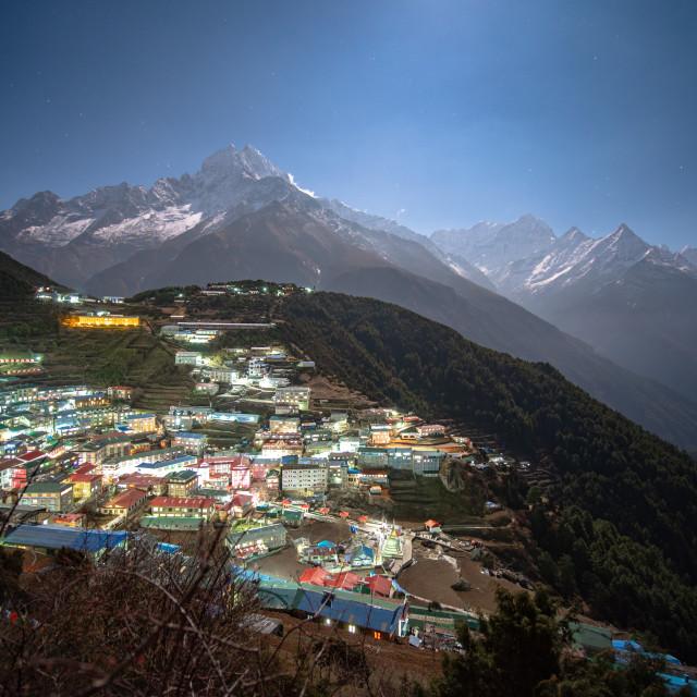 """""""View over Namche Bazaar"""" stock image"""