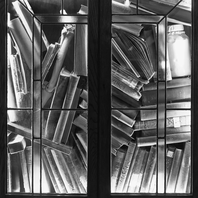 """""""Lit Book Cabinet"""" stock image"""