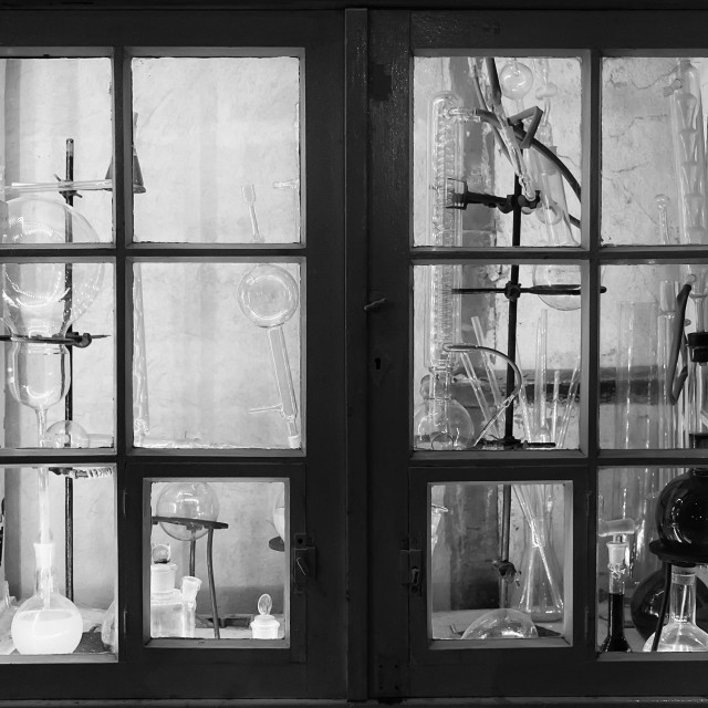 """Old Laboratory Cabinet"" stock image"