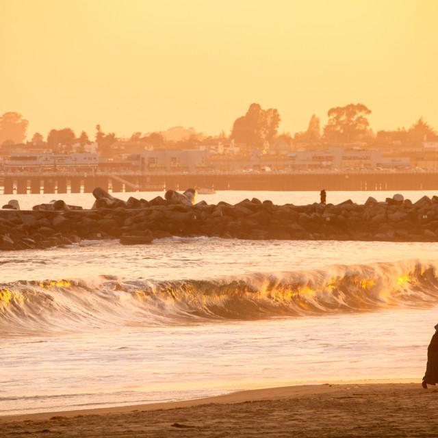 """Santa Cruz Sunset Stroll"" stock image"