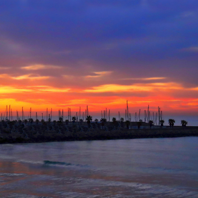 """""""Sunrise in Sitges, Spain"""" stock image"""
