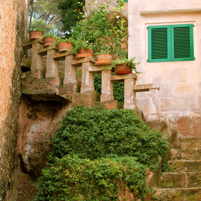 """""""Cala Figuera - Steps and Pots"""" stock image"""