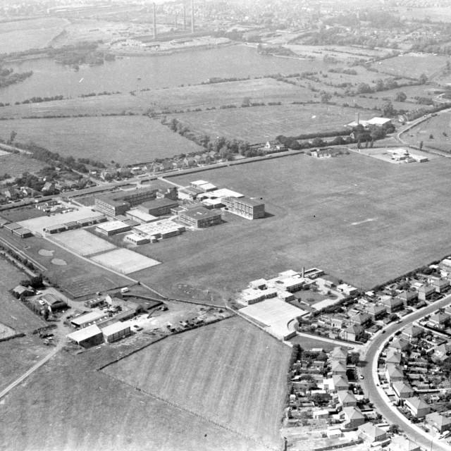 """Stanground Comprehensive School (1981)"" stock image"