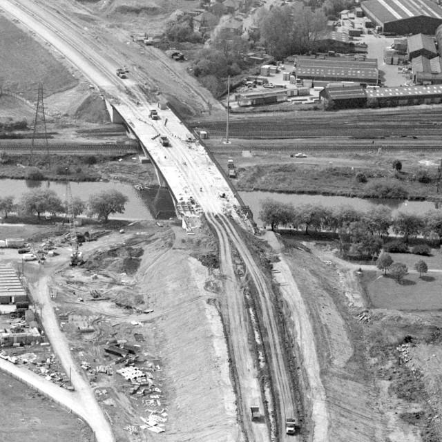 """""""Frank Perkins Parkway River Bridge (1984)"""" stock image"""