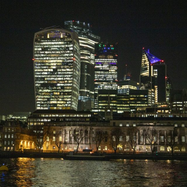 """City of London at Night"" stock image"