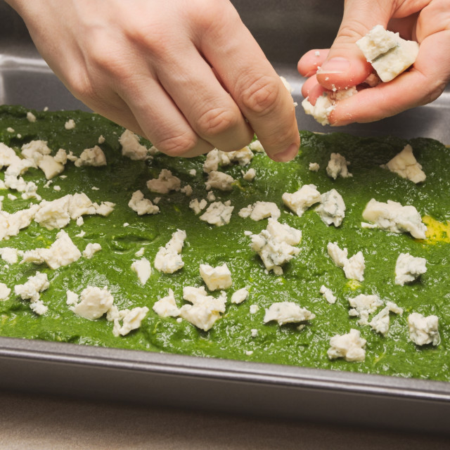 """Spinach Lasagne Preparation"" stock image"