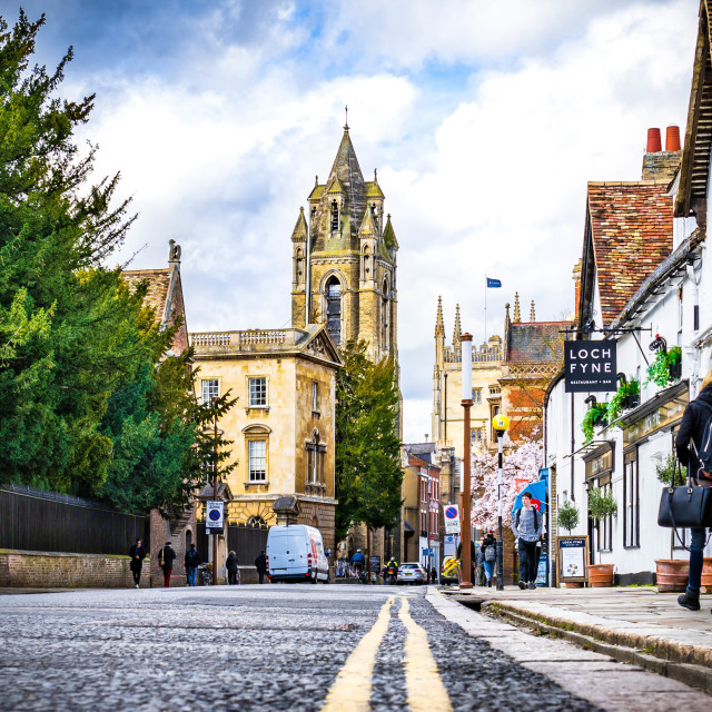 """Trumpington Street, Cambridge UK."" stock image"
