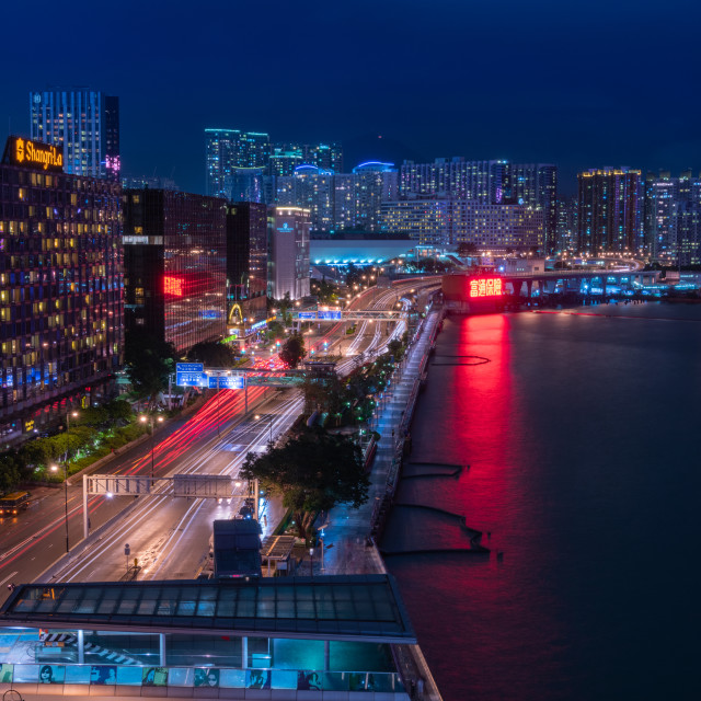 """Salisbury Road at Night // Hong Kong, China"" stock image"