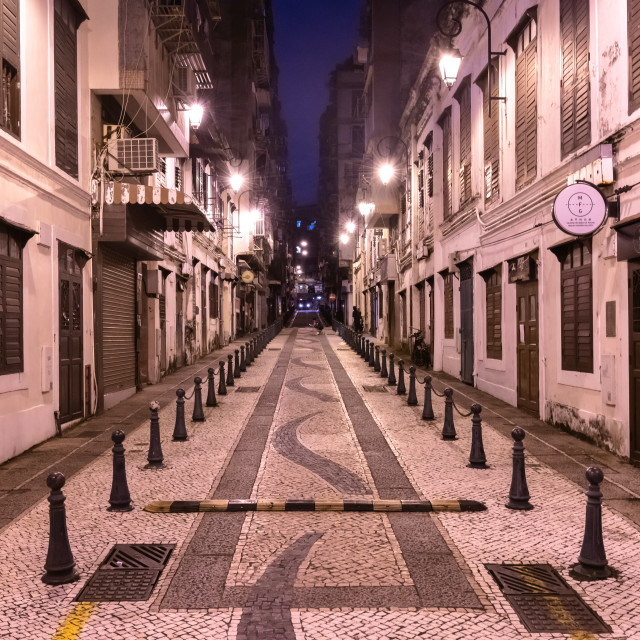 """The cobblestone streets of Macau // Macau, China"" stock image"