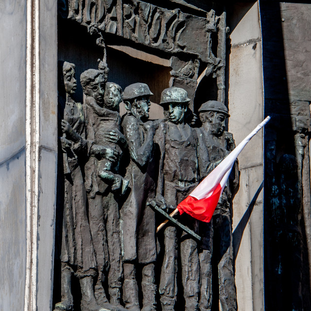 """Monument to the Fallen Shipyard Workers of 1970 Gdansk, Poland with Flag"" stock image"