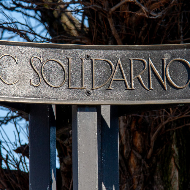"""""""Place sign for Monument to the Fallen Shipyard Workers of 1970 Gdansk, Poland"""" stock image"""