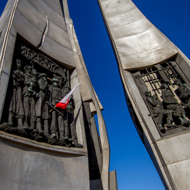 """""""Monument to the Fallen Shipyard Workers of 1970 Gdansk, Poland with Flag"""" stock image"""