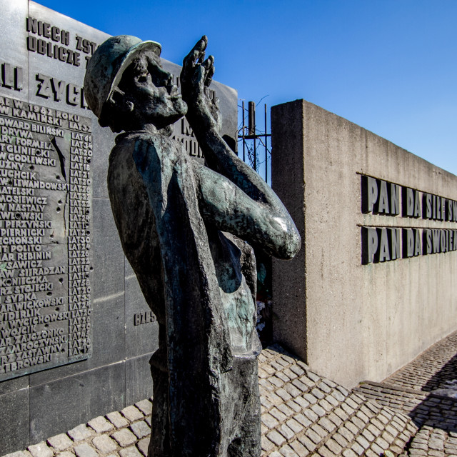 """""""Memorial Statue and Commemorative Plaques at Gdansk Shipyard, Poland"""" stock image"""