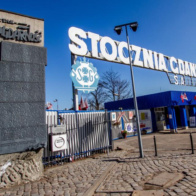 """Commemorative Plaques at Gdansk Shipyard, Poland"" stock image"