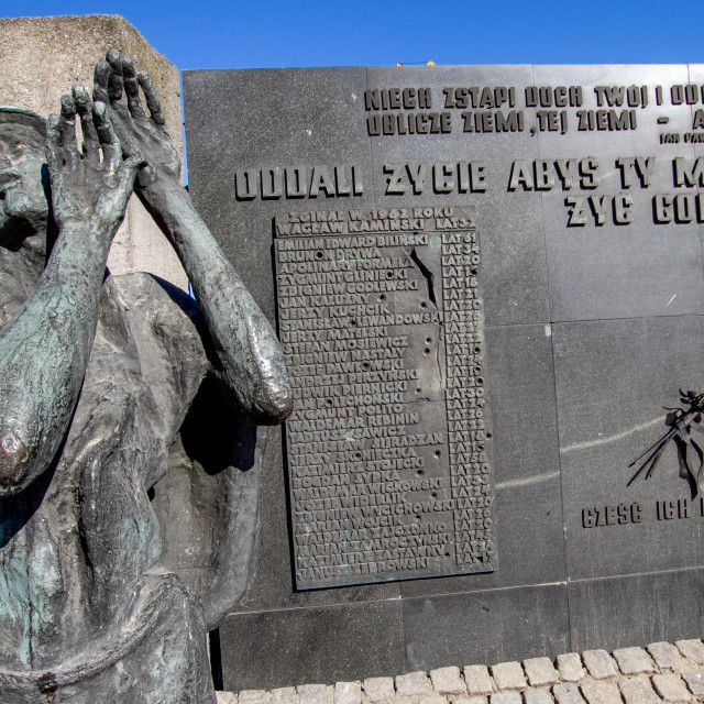 """""""Memorial Statue and Commemorative Plaques at Gdansk Shipyard, Poland, a memorial of the fallen shipyard workers 1970"""" stock image"""