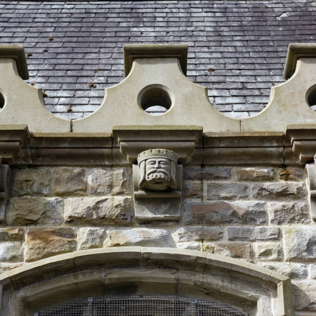 """""""Clyne Chapel carved heads"""" stock image"""