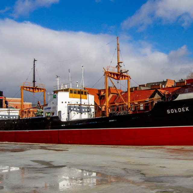"""""""SS Soldek, Polish coal and ore freighter. Currently preserved as a museum ship in Gdańsk"""" stock image"""