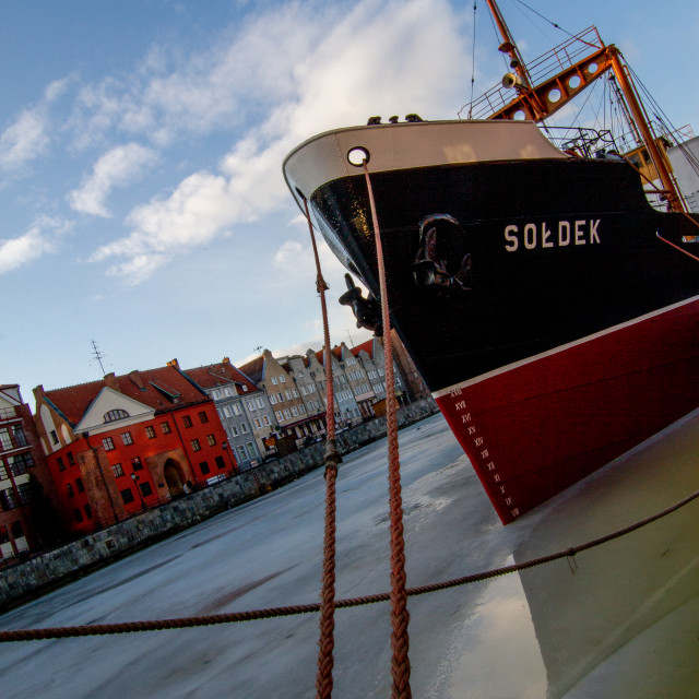 """SS Soldek, Polish coal and ore freighter. Currently preserved as a museum ship in Gdańsk"" stock image"