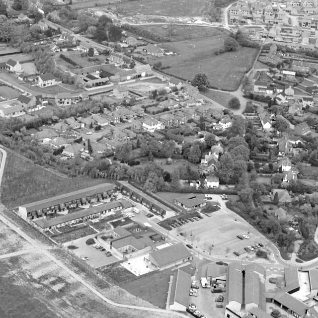 """Herlington Centre, Orton Malborne (1982)"" stock image"